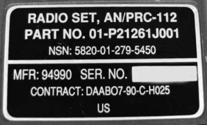 AN/PRC-112 Identification Plate.