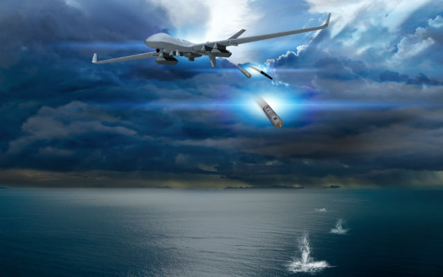 General Atomics Aeronautical Systems MQ-9 Guardian maritime with sonobuoy capability.